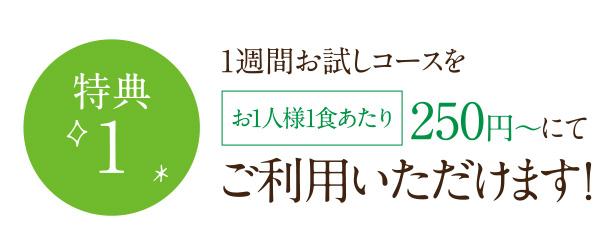 1週間お試しコースをお1人様1食あたり 250円〜にて ご利用いただけます !